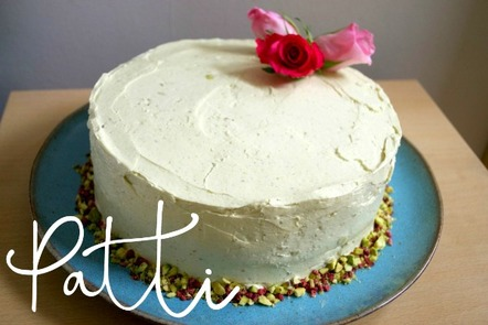 Patti pistachio and rose bespoke cake details