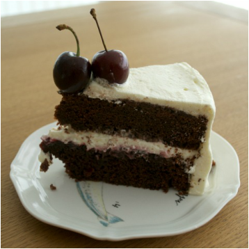 Viv chocolate cherry bespoke cake slice