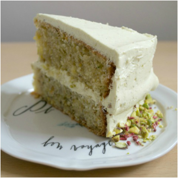 Patti pistachio and rose bespoke cake slice