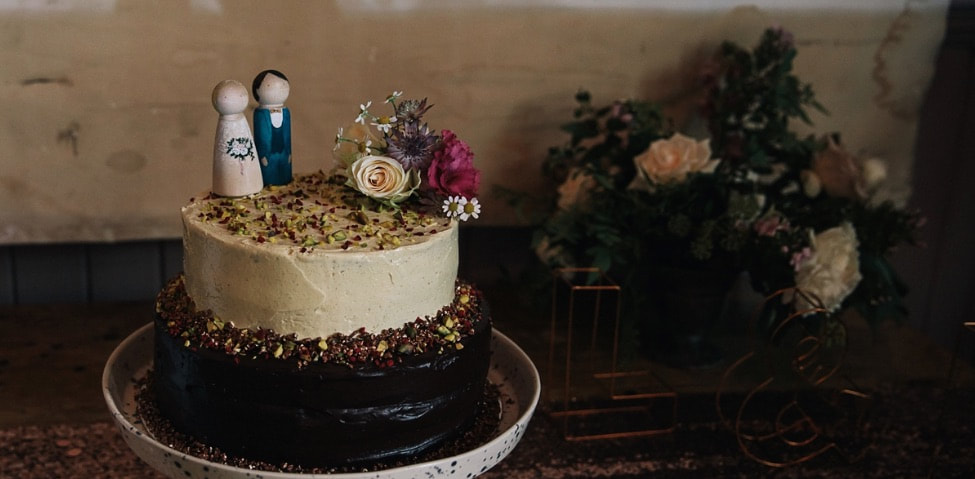 Two tier wedding cake by Ginger and the Whisks